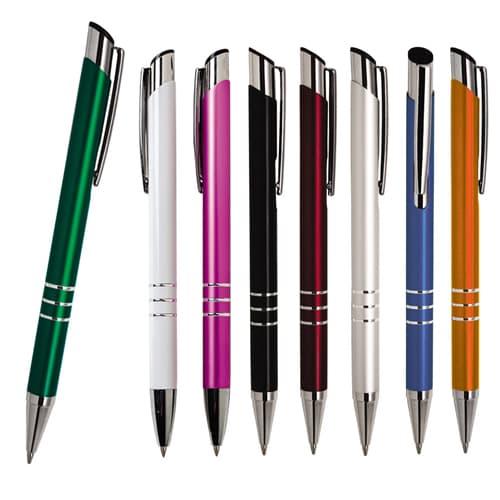 Bolígrafo de aluminio con clip metálico.