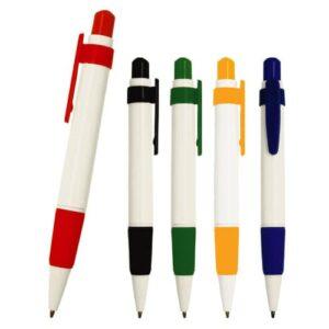Bolígrafo de plástico con clip de color.