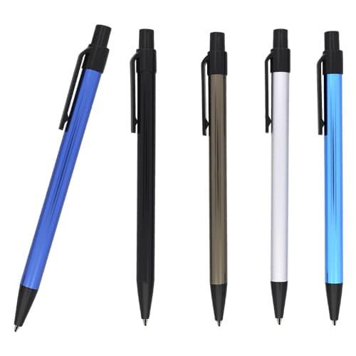 Bolígrafo metálico con clip.