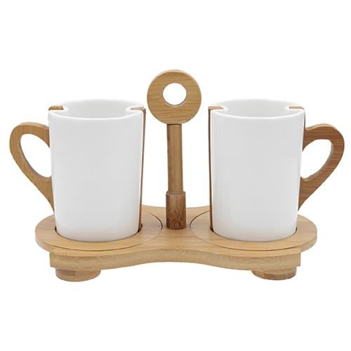 Juego de dos tazas de cerámica con asa, Cap. 260 ml. - HO 034 - For Promotional 1,