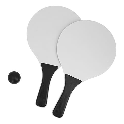 Juego de raquetas de plástico y pelota.