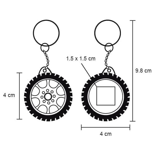 Llavero flexómetro en forma de llanta