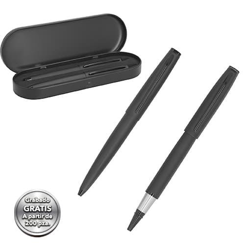 Set de bolígrafos metálicos en acabado
